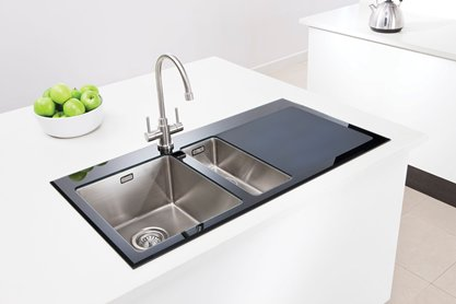Franke Black Glass Sink : Vitrea 150 Black - Inset stainless steel and black glass sink with ...