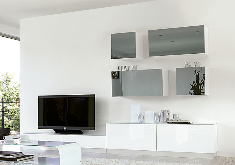 white gloss wall units living room