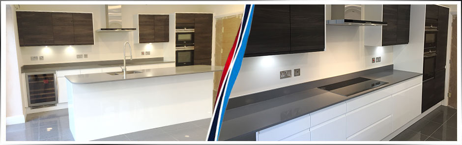 Handleless Contrast Colour Kitchen, Ashley Heath, Ringwood