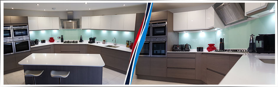 Handleless Dark Elm and High Gloss White Contrast Kitchen with Island
