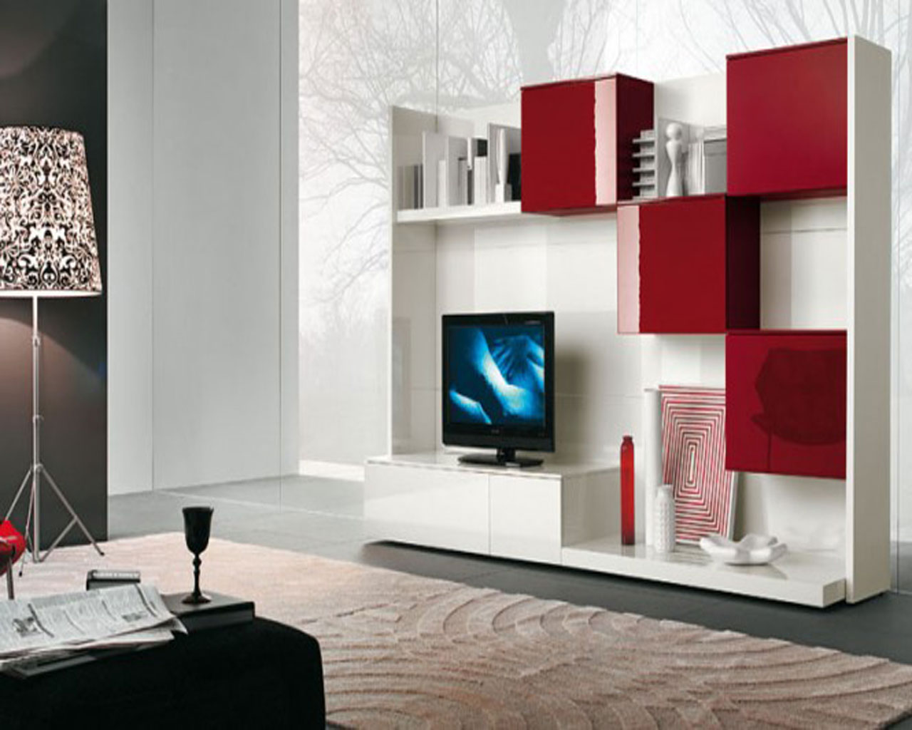 wall unit design and cute red storage ideas also minimalist shelving design for favorite. Black Bedroom Furniture Sets. Home Design Ideas
