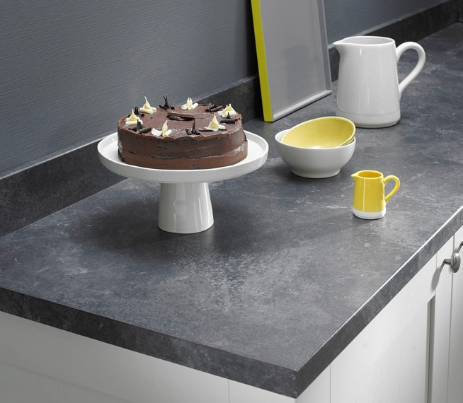 Forged black worksurface and upstand with new q3 profile Grey laminate kitchen worktops