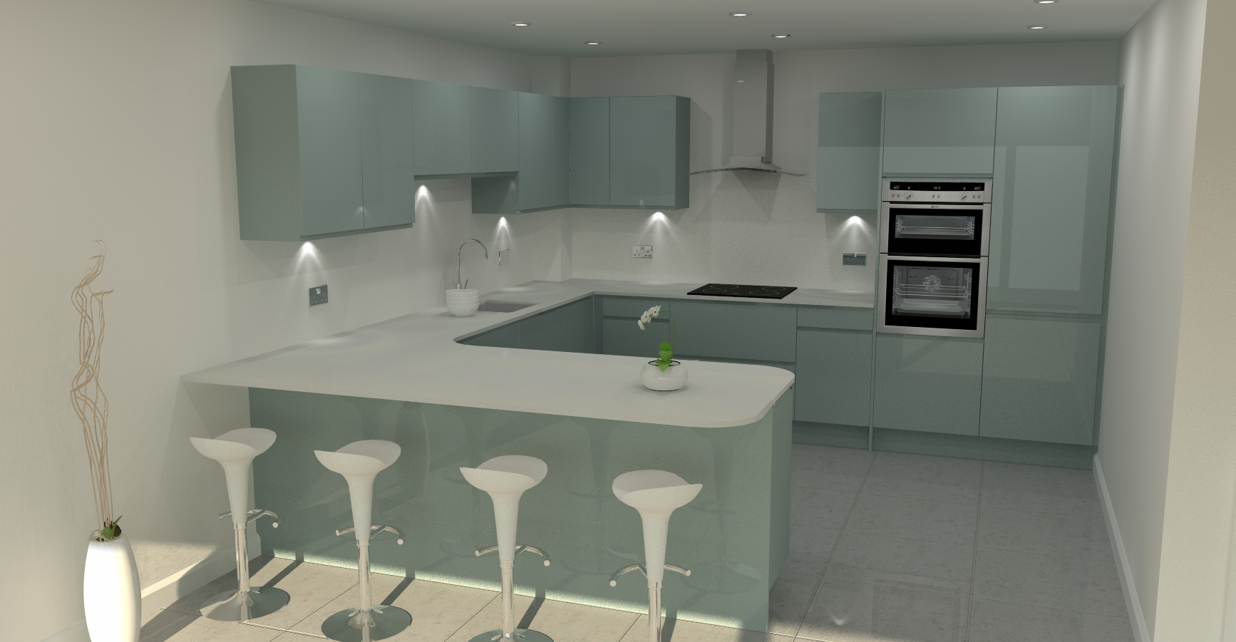 3D render of fitted kitchen design
