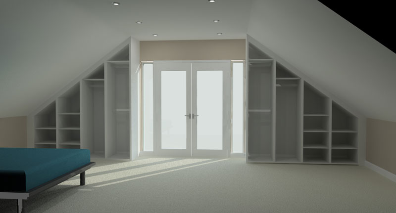 Fitted Wardrobe for a loft extension, shown with doors off. 3D render by Meridien Interiors Dorset
