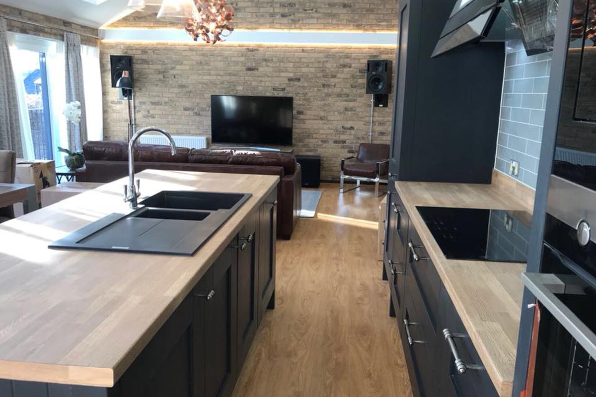 Charcoal shaker kitchen island for warehouse themed apartment in Poole.